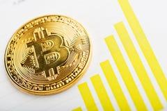 Bitcoin με τη γραφική παράσταση διαγραμμάτων στοκ εικόνα με δικαίωμα ελεύθερης χρήσης