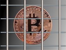 Bitcoin πίσω από τα κάγκελα Στοκ φωτογραφία με δικαίωμα ελεύθερης χρήσης