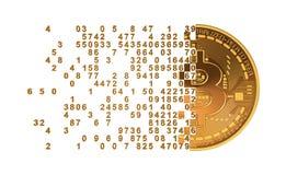 Bitcoin που καταρρέει στην έννοια ψηφίων διανυσματική απεικόνιση