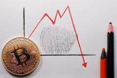 Bitcoin σε ένα φύλλο της Λευκής Βίβλου Μια hand-drawn γραφική παράσταση με μια πτώση στο ποσοστό Bitocoin Η γραφική παράσταση έπε Στοκ Φωτογραφία