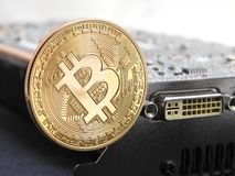 Bitcoin στη μονάδα επεξεργασίας γραφικής παράστασης ή GPU Στοκ Φωτογραφία