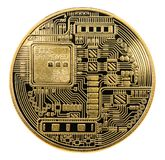 Bitcoin Φυσικό νόμισμα κομματιών Ψηφιακό νόμισμα Cryptocurrency Πηγαίνετε στοκ εικόνα