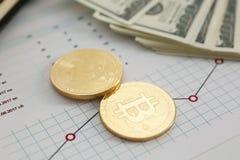 Bitcoin валюты монетки секретное против Стоковое Фото