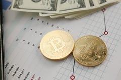 Bitcoin валюты монетки секретное против Стоковые Фотографии RF