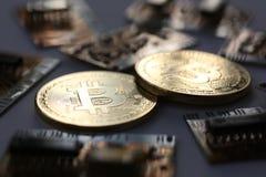 Bitcoin валюты монетки секретное против Стоковое Изображение