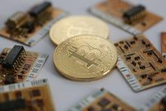 Bitcoin валюты монетки секретное против Стоковая Фотография