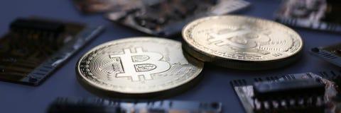Bitcoin валюты монетки секретное против Стоковое фото RF