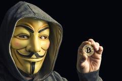 Bitcoin владением хакера стоковая фотография rf