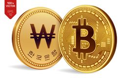 Bitcoin выиграно равновеликие физические монетки 3D Валюта цифров Корея выиграла монетку Cryptocurrency Золотые монетки с Bitcoin Стоковое Фото