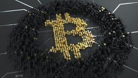 Bitcoin Вычисление хэша или минирования Циклически движение чисел Знак валюты освещает вверх, производящ волны иллюстрация вектора