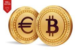 Bitcoin евро монетки равновеликие физические монетки 3D Валюта цифров Cryptocurrency Золотые монетки с isola символа Bitcoin и ев Стоковое фото RF