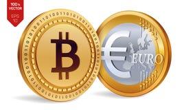 Bitcoin евро монетки равновеликие физические монетки 3D Валюта цифров Cryptocurrency Золотые монетки с isola символа Bitcoin и ев Стоковые Фото