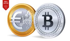 Bitcoin евро монетки равновеликие физические монетки 3D Валюта цифров Cryptocurrency Золотой и серебряная монета с Bitcoin и евро Стоковое Изображение RF
