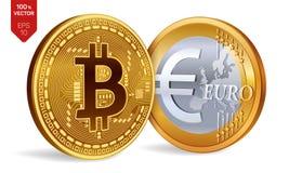Bitcoin евро монетки равновеликие физические монетки 3D Валюта цифров Cryptocurrency Золотые монетки с isola символа Bitcoin и ев Стоковая Фотография RF
