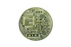 Bitcoin золота на белом пути предпосылки +clipping Стоковая Фотография RF