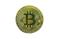 Bitcoin золота на белом пути background+clipping Стоковая Фотография RF