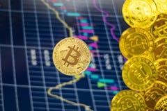 Bitcoin золота с предпосылкой диаграммы запаса стоковая фотография