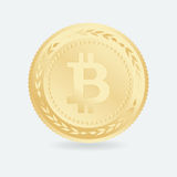 Bitcoin Золотая монетка с символом Bitcoin Валюта тайнописи Стоковые Фото