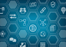 Bitcoin и предпосылка blockchain голубая и серая с запачканными горизонтом города и верхним слоем полигона Стоковые Изображения