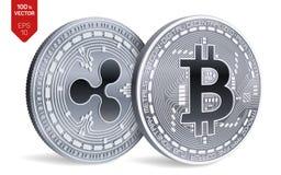 Bitcoin и пульсация равновеликие физические монетки 3D Валюта цифров Cryptocurrency также вектор иллюстрации притяжки corel бесплатная иллюстрация