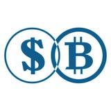 Bitcoin и dolar на белой предпосылке, векторе стоковое фото