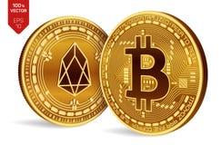 Bitcoin и EOS равновеликие физические монетки 3D Валюта цифров Cryptocurrency Золотые изолированные монетки с bitcoin и символом  Стоковое фото RF