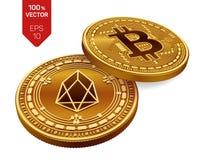 Bitcoin и EOS равновеликие физические монетки 3D Валюта цифров Cryptocurrency Золотые изолированные монетки с bitcoin и символом  Стоковые Изображения