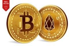Bitcoin и EOS равновеликие физические монетки 3D Валюта цифров Cryptocurrency Золотые изолированные монетки с bitcoin и символом  Стоковые Фотографии RF