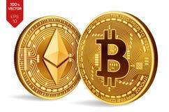 Bitcoin и ethereum равновеликие физические золотые монетки 3D Валюта цифров Cryptocurrency также вектор иллюстрации притяжки core Стоковое Изображение