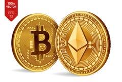 Bitcoin и ethereum равновеликие физические монетки 3D Валюта цифров Cryptocurrency Золотые монетки с символом bitcoin и ethereum Стоковые Фото