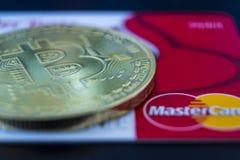 Bitcoin и Mastercard стоковое изображение