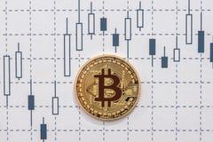 Bitcoin на диаграмме стоковые фотографии rf