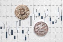 Bitcoin на диаграмме стоковое изображение
