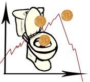 Bitcoin на листе белой бумаги Графический чертеж с уменьшая скоростью bitcoat Диаграмма упала под нул Монетки падают в его внутри Стоковое фото RF