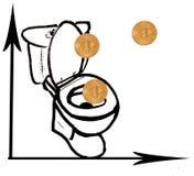 Bitcoin на листе белой бумаги Графический чертеж с уменьшая скоростью bitcoat Диаграмма упала под нул Монетки падают в его внутри стоковые фотографии rf