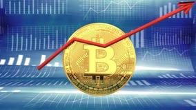 Bitcoin, недавний создатель новостей, монетка кибер которая приобретает внимание ` инвесторов иллюстрация вектора