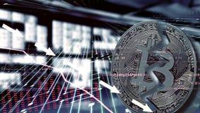 Bitcoin Обесценивание обменного курса краха фондовой биржи иллюстрация вектора