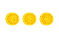 Bitcoin, доллар, комплект значка знака значка евро Стоковые Изображения RF
