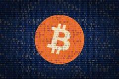 Bitcoin подписывает сверх бинарную предпосылку защита данных от рубить Безопасность кибер Стоковое Фото