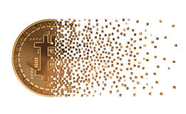 Bitcoin понижаясь врозь к пикселам Стоковая Фотография