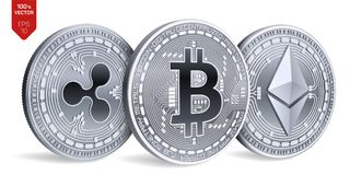 Bitcoin пульсация Ethereum равновеликие физические монетки 3D Валюта цифров Cryptocurrency также вектор иллюстрации притяжки core Стоковое Фото