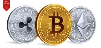 Bitcoin пульсация Ethereum равновеликие физические монетки 3D Валюта цифров Cryptocurrency также вектор иллюстрации притяжки core иллюстрация штока