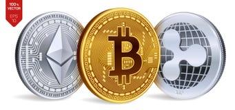 Bitcoin пульсация Ethereum равновеликие физические монетки 3D Валюта цифров Cryptocurrency Серебряные и золотые монетки с bitcoin Стоковая Фотография RF