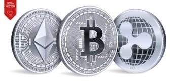Bitcoin пульсация Ethereum равновеликие физические монетки 3D Валюта цифров Cryptocurrency Серебряные монеты с bitcoin Стоковое Изображение RF