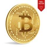 Bitcoin равновеликая физическая монетка бита 3D Валюта цифров Золотое Bitcoin изолированное на белой предпосылке вектор пользы шт Стоковые Фотографии RF
