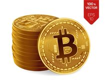 Bitcoin равновеликая физическая монетка бита 3D Валюта цифров Cryptocurrency Стог золотого Bitcoins Стоковые Изображения RF