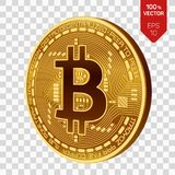Bitcoin равновеликая физическая монетка бита 3D Cryptocurrency Золотая монетка с символом bitcoin изолированная на прозрачной пре Стоковые Изображения RF