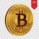 Bitcoin равновеликая физическая монетка бита 3D Cryptocurrency Золотая монетка с символом bitcoin изолированная на прозрачной пре Стоковое Фото