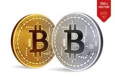 Bitcoin равновеликая физическая монетка бита 3D Cryptocurrency Золотой и серебряная монета с символом bitcoin изолированные на бе Стоковое фото RF