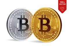 Bitcoin равновеликая физическая монетка бита 3D Cryptocurrency Золотой и серебряная монета с символом bitcoin изолированные на бе Стоковые Изображения